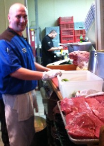 "Chef David ""Sully"" Sullivan works with the evening's secret ingredient - Certified Angus Beef Strip Loin"
