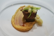 Palmetto Quail & Country Ham Roulade  with a NC White BBQ Sauce and a puree of Apple & Rutabaga