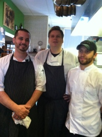 Team Roosters, from left, Chef Brian XXX, Exec Chef Phil Barnes and Chef Zack Renner