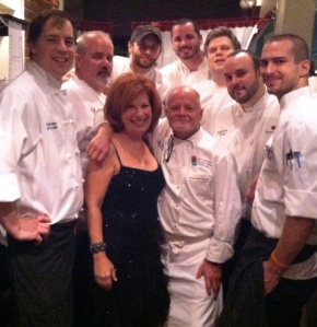 The delay in gathering votes gave way for some great photo opt time - here I am with all of the finales chefs and my two favorite Chef Refs  - Laurence Willard and Billy Seay