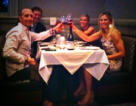 These diners toast to a fun evening of Competition Dining - Charlotte's newest team sport!