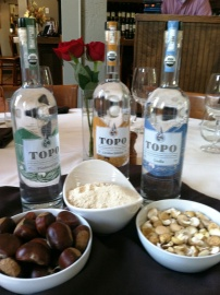 The first quarterfinal secret ingredients - TOPO organic whiskey and High Rock Farm Chestnuts