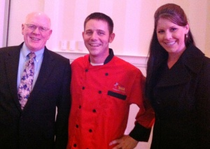 Final Fire Battle High Rock Farm Pecans winner Chef John Bobby with Richard Teague and Brianne McAlister