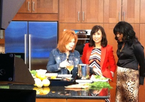 Heidi Billotto in the kitchen with Charlotte Today hosts Coleen Odegaard and Ramona Holloway