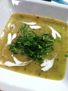 "Make the leek and potato soup recipe below garnished with minced carrot tops and ""hearts"" of heavy cream"