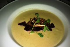 pasnip and NC apple soup with BBQ beet salad, crispy pigs ear, Tega Hill Farm microgreens