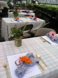 tables set for cooking class
