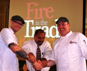 Ready, set, cook... Competition Dining host Jimmy Crippen poses with Fire in the Triad semi finalists Chef Tim Thompson and Chef Mark Grohman as the day kicks off.