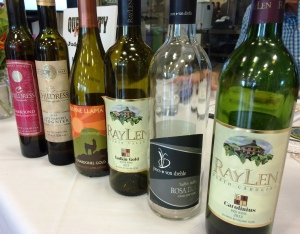 the wine line up - all local