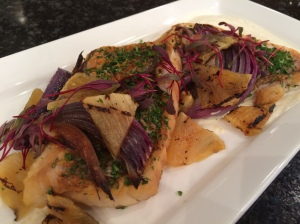 Snapper is also on the brunch buffet - prepared here pan seared with parsnip puree, candied pineapple and Spanish onion