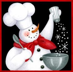 snow man as chef