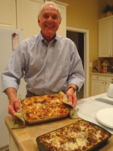 James with lasagna